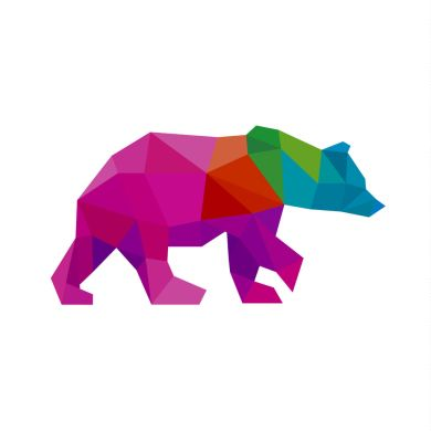 55027527 - bear color polygon rainbow in low poly style vector art